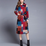Loose Single-breasted Plaid Wool Coat (Color:As Show Size:S)