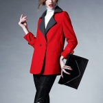 Temperament Lapel Wool Coat (Color:Red Size:L)