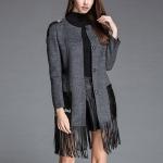 Fashion Fringed Woolen Windbreaker Slim Coat (Color:Grey Size:L)