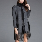 Fashion Fringed Woolen Windbreaker Slim Coat (Color:Grey Size:XL)