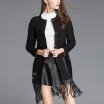 Fashion Fringed Woolen Windbreaker Slim Coat (Color:Black Size:M)
