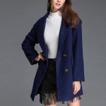 Fashion Solid Color Long-sleeved Suit Collar Wool Coat (Color:Dark Blue Size:L)