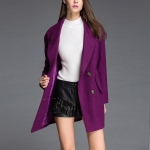 Fashion Solid Color Long-sleeved Suit Collar Wool Coat (Color:Purple Size:L)