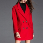 Fashion Solid Color Long-sleeved Suit Collar Wool Coat (Color:Red Size:M)