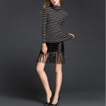 Contrast High Collar Pullover Long Sleeve Sweater Striped Bottoming Shirt(Color:Black Grey Size:One Size)