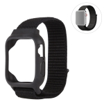 For Apple Watch Series 5 & 4 44mm / 3 & 2 & 1 42mm Nylon Watchband with Hook and Loop Fastener (Black)