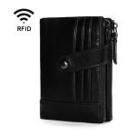TP-196 Multi-functional Retro Cowhide Leather Multiple Card Slots Dual zipper RFID Wallet (Black)