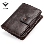 TP-201 Crazy Horse Leather Multi-functional Lather RFID Clasp Retro Wallet