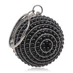 Ball Shape Women Fashion Banquet Party Pearl Handbag(Black)