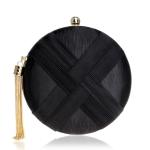Women Fashion Banquet Party Silk Handbag(Black)