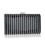 Women Fashion Banquet Party Diamond Square Handbag (Black)