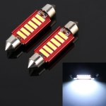 2 PCS 2W 100 LM 6000K 41MM 6 SMD-7020 LEDs Bicuspid Port Decoding Car Dome Lamp LED Reading Light, DC 12V, White Light (Red)