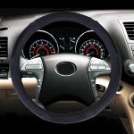Universal Car Genuine Leather Colorful Stripe Steering Wheel Cover, Diameter: 38cm (Black)