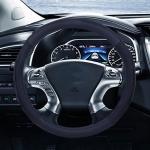 Universal Car Genuine Leather Steering Wheel Cover, Diameter: 38cm (Black)