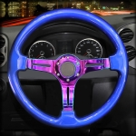 Car Colorful Modified Racing Sport Horn Button Steering Wheel, Diameter: 34.6cm (Blue)