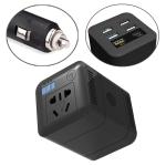 150W DC 12V-24V to AC 220V Car Multi-functional Correction Wave Power Inverter 5 USB Ports Charger Adapter (Black)