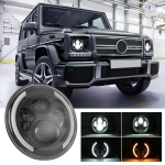 7 inch H4 / H13 DC 9V-30V 3000LM 3000K-6000K 25W Car Round Shape LED Headlight Lamps for Jeep Wrangler, with Angel Eye
