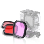 Pink Purple Red 3 Color Square Housing Diving Lens Filter Kits for GoPro HERO8 Black