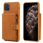 For iPhone 11 Pro Max Buckle Zipper Shockproof Protective Case with Holder & Card Slots & Wallet & Lanyard & Photos Frames(Brown)