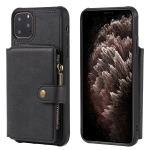 For iPhone 11 Pro Max Buckle Zipper Shockproof Protective Case with Holder & Card Slots & Wallet & Lanyard & Photos Frames(Black)