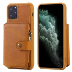 For iPhone 11 Pro Buckle Zipper Shockproof Protective Case with Holder & Card Slots & Wallet & Lanyard & Photos Frames(Brown)