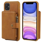 For iPhone 11 Buckle Zipper Shockproof Protective Case with Holder & Card Slots & Wallet & Lanyard & Photos Frames(Brown)