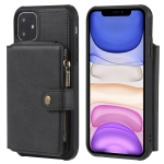 For iPhone 11 Buckle Zipper Shockproof Protective Case with Holder & Card Slots & Wallet & Lanyard & Photos Frames(Black)