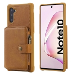 For  Galaxy Note 10 Buckle Zipper Shockproof Protective Case with Holder & Card Slots & Wallet & Lanyard & Photos Frames(Brown)