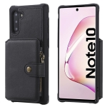 For  Galaxy Note 10 Buckle Zipper Shockproof Protective Case with Holder & Card Slots & Wallet & Lanyard & Photos Frames(Black)