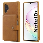 For Galaxy Note 10 Plus Buckle Zipper Shockproof Protective Case with Holder & Card Slots & Wallet & Lanyard & Photos Frames(Brown)