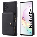 For Galaxy Note 10 Plus Buckle Zipper Shockproof Protective Case with Holder & Card Slots & Wallet & Lanyard & Photos Frames(Black)