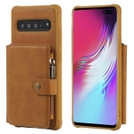 For Galaxy S10 5G Buckle Zipper Shockproof Protective Case with Holder & Card Slots & Wallet & Lanyard & Photos Frames(Brown)