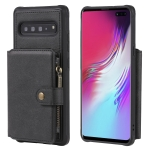 For Galaxy S10 5G Buckle Zipper Shockproof Protective Case with Holder & Card Slots & Wallet & Lanyard & Photos Frames(Black)