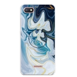For Xiaomi Redmi 6A Embossed Varnished Marble TPU Protective Case with Holder(Gold Line Blue)