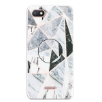 For Xiaomi Redmi 6A Embossed Varnished Marble TPU Protective Case with Holder(Polytriangle)