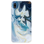 For Xiaomi Redmi 7A Embossed Varnished Marble TPU Protective Case with Holder(Gold Line Blue)
