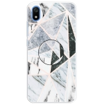 For Xiaomi Redmi 7A Embossed Varnished Marble TPU Protective Case with Holder(Polytriangle)