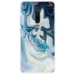 For Xiaomi Redmi K20 & K20 Pro Embossed Varnished Marble TPU Protective Case with Holder(Gold Line Blue)