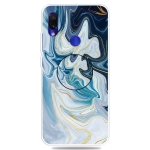 For Xiaomi Redmi Note 7 & 7 Pro Embossed Varnished Marble TPU Protective Case with Holder(Gold Line Blue)