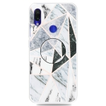 For Xiaomi Redmi Note 7 & 7 Pro Embossed Varnished Marble TPU Protective Case with Holder(Polytriangle)