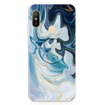 For Xiaomi Redmi Note 6 & 6 Pro Embossed Varnished Marble TPU Protective Case with Holder(Gold Line Blue)