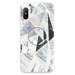 For Xiaomi Redmi Note 6 & 6 Pro Embossed Varnished Marble TPU Protective Case with Holder(Polytriangle)
