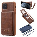 For iPhone 11 Pro Max Vertical Flip Wallet Shockproof Back Cover Protective Case with Holder & Card Slots & Lanyard & Photos Frames(Coffee)