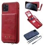 For iPhone 11 Pro Max Vertical Flip Wallet Shockproof Back Cover Protective Case with Holder & Card Slots & Lanyard & Photos Frames(Red)