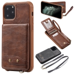 For iPhone 11 Pro Vertical Flip Wallet Shockproof Back Cover Protective Case with Holder & Card Slots & Lanyard & Photos Frames(Coffee)