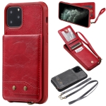 For iPhone 11 Pro Vertical Flip Wallet Shockproof Back Cover Protective Case with Holder & Card Slots & Lanyard & Photos Frames(Red)