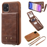 For iPhone 11 Vertical Flip Wallet Shockproof Back Cover Protective Case with Holder & Card Slots & Lanyard & Photos Frames(Coffee)