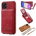 For iPhone 11 Vertical Flip Wallet Shockproof Back Cover Protective Case with Holder & Card Slots & Lanyard & Photos Frames(Red)