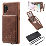 For Galaxy Note 10 Plus Vertical Flip Wallet Shockproof Back Cover Protective Case with Holder & Card Slots & Lanyard & Photos Frames(Coffee)