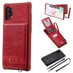 For Galaxy Note 10 Plus Vertical Flip Wallet Shockproof Back Cover Protective Case with Holder & Card Slots & Lanyard & Photos Frames(Red)